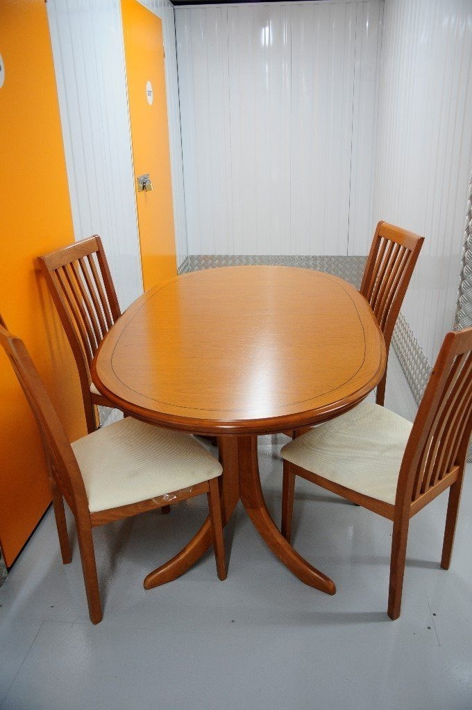 Beautiful Vintage Windsor Extending Dining Table And Four Chairs Regarding Glasgow Dining Sets (Image 3 of 25)