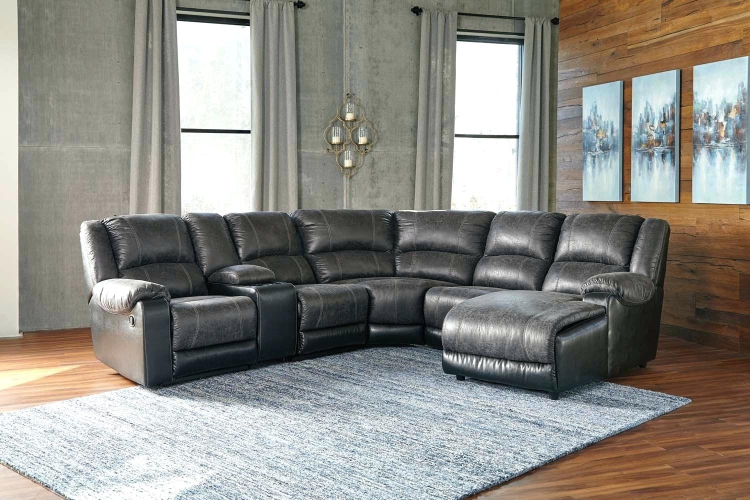 Beckett Leather 6 Piece Chaise Sectional Sofa With 2 Power Recliners With Regard To Calder Grey 6 Piece Manual Reclining Sectionals (Image 5 of 25)