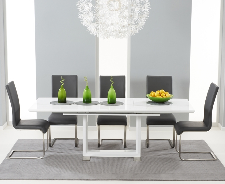 Beckley 160 White Extending Dining Table + 6 Malibu Grey Chairs Intended For White Extending Dining Tables And Chairs (Image 5 of 25)