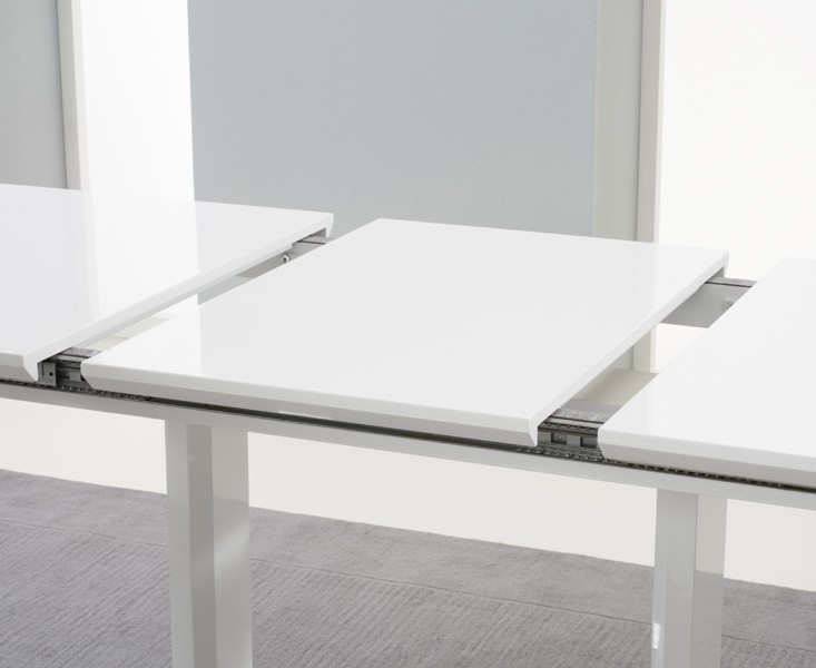 Beckley 6 To 8 Seater White Gloss Extending Dining Table | Dining | Fads Pertaining To White Gloss Extendable Dining Tables (Image 2 of 25)