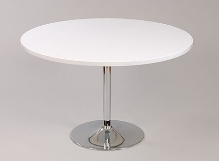 Becks Large White Round Table Kitchen And Dining Table Chrome 100Cm In Large White Round Dining Tables (View 18 of 25)