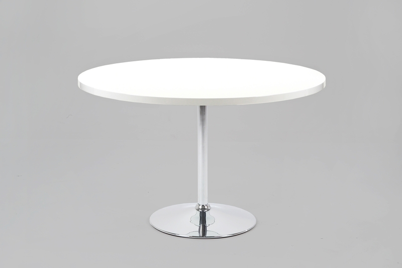 Becky Round White High Gloss Dining Table Ex Display 120Cm With Round High Gloss Dining Tables (Image 4 of 25)