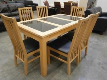 Beech With Marble Inlay Dining Table & 6 Chairs X1 With Regard To Beech Dining Tables And Chairs (Image 13 of 25)