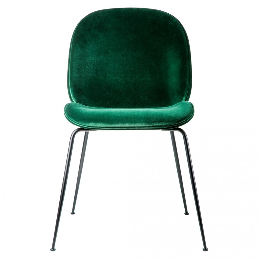 Beetle Dining Chair Green Velvet With Black Legs – The Conran Shop With Velvet Dining Chairs (Image 5 of 25)
