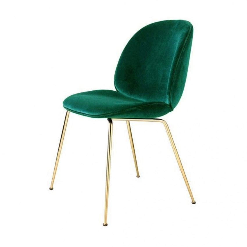 Beetle Dining Chair Green Velvet With Brass Legs – The Conran Shop Throughout Velvet Dining Chairs (Image 6 of 25)