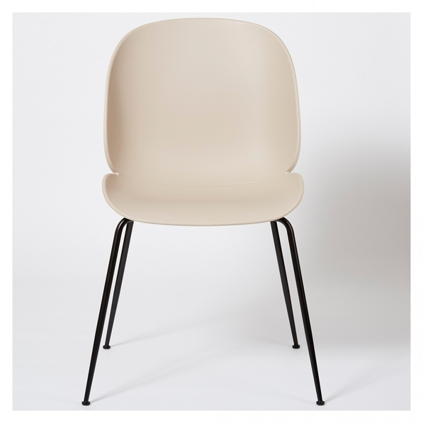 Beetle Dining Chair Un Upholstered New Beige With Black Legs – The Throughout Black Dining Chairs (Image 2 of 25)