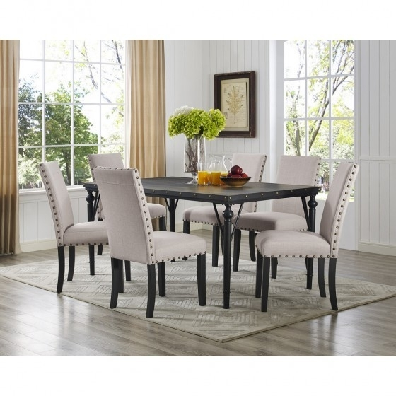 Beige 7 Pc Dining Set With Fabric Chairs Br04 167 70 Bei Inside Dining Tables And Fabric Chairs (Image 2 of 25)