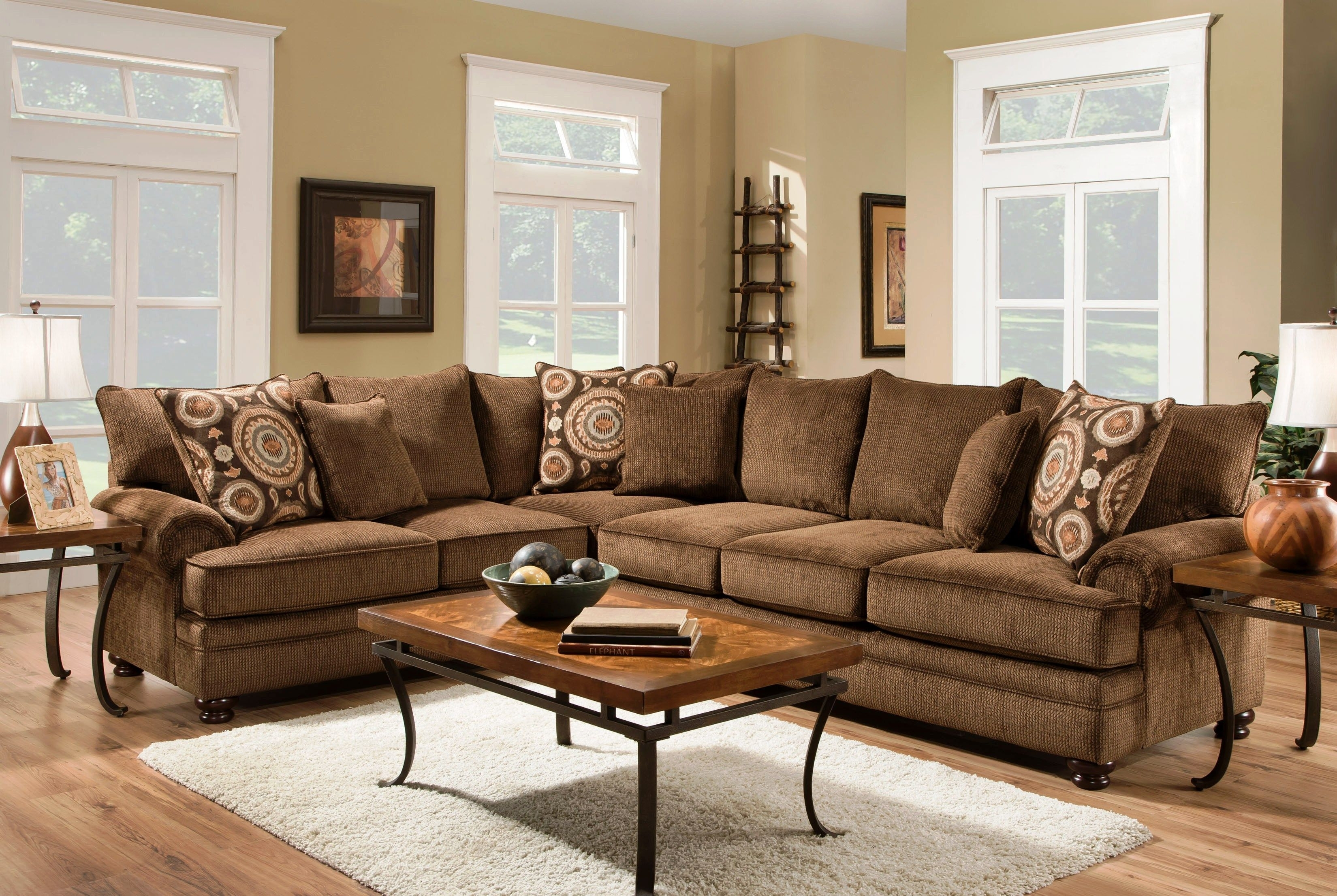 Beige Couch Pillows Luxury Ria Twill Chocolate 2 Piece Sectional Throughout Josephine 2 Piece Sectionals With Laf Sofa (Image 4 of 25)