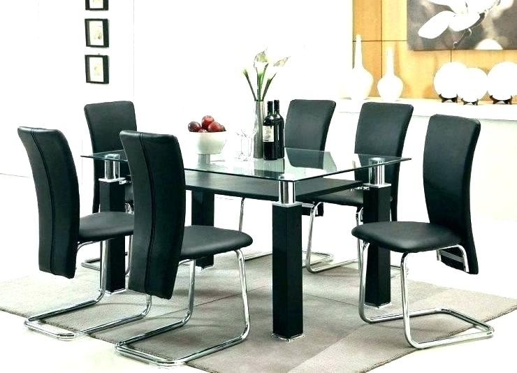Beige Dining Table Small Glass Black Set 6 And Chairs T Retro Top Intended For Retro Glass Dining Tables And Chairs (Image 5 of 25)