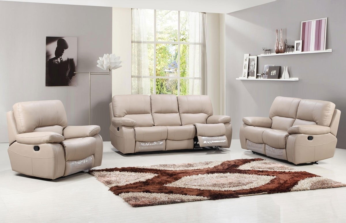 Beige Leather Reclining Sofa | Baci Living Room Intended For Clyde Saddle 3 Piece Power Reclining Sectionals With Power Headrest & Usb (Image 5 of 25)