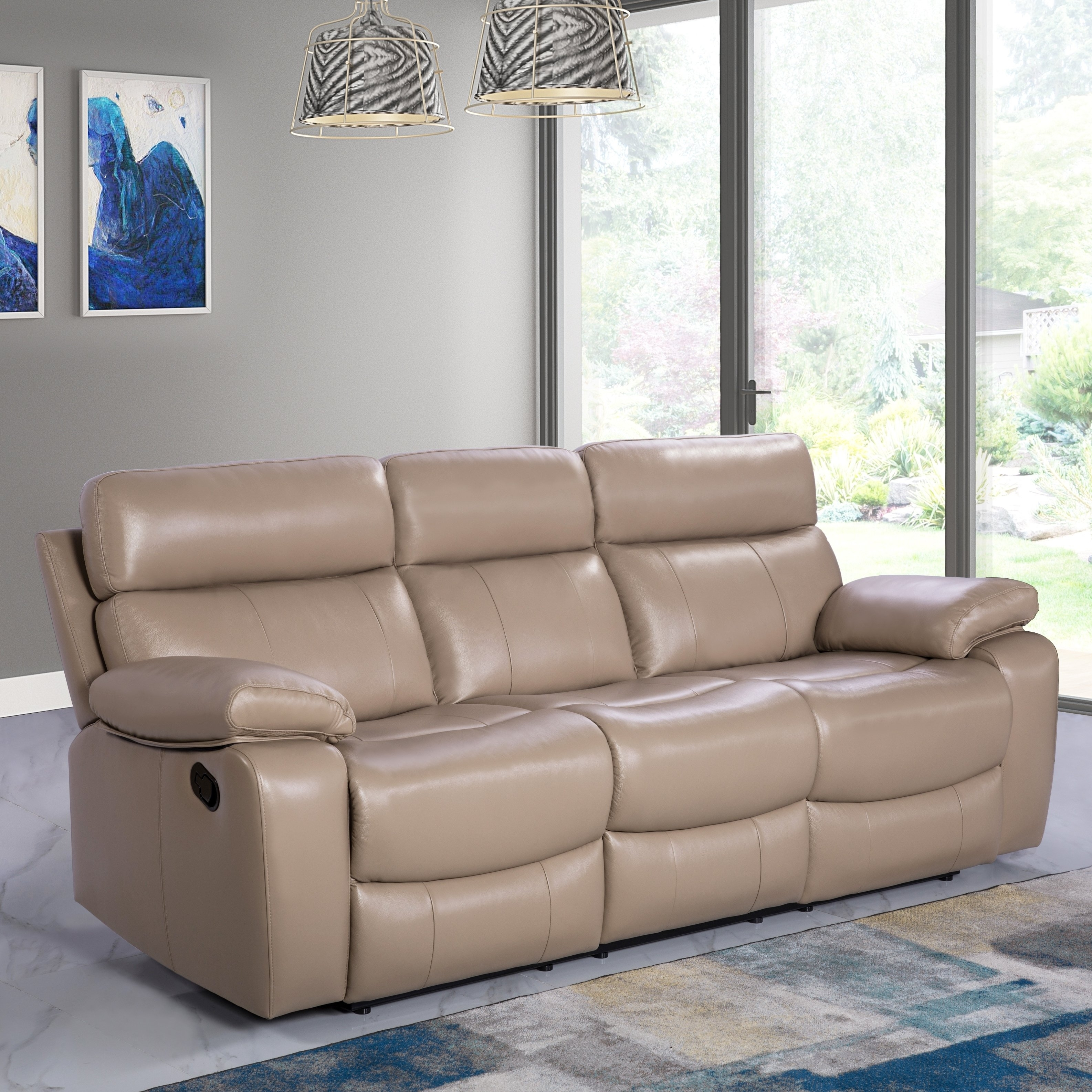 Beige Leather Reclining Sofa | Baci Living Room Pertaining To Clyde Saddle 3 Piece Power Reclining Sectionals With Power Headrest & Usb (Image 6 of 25)