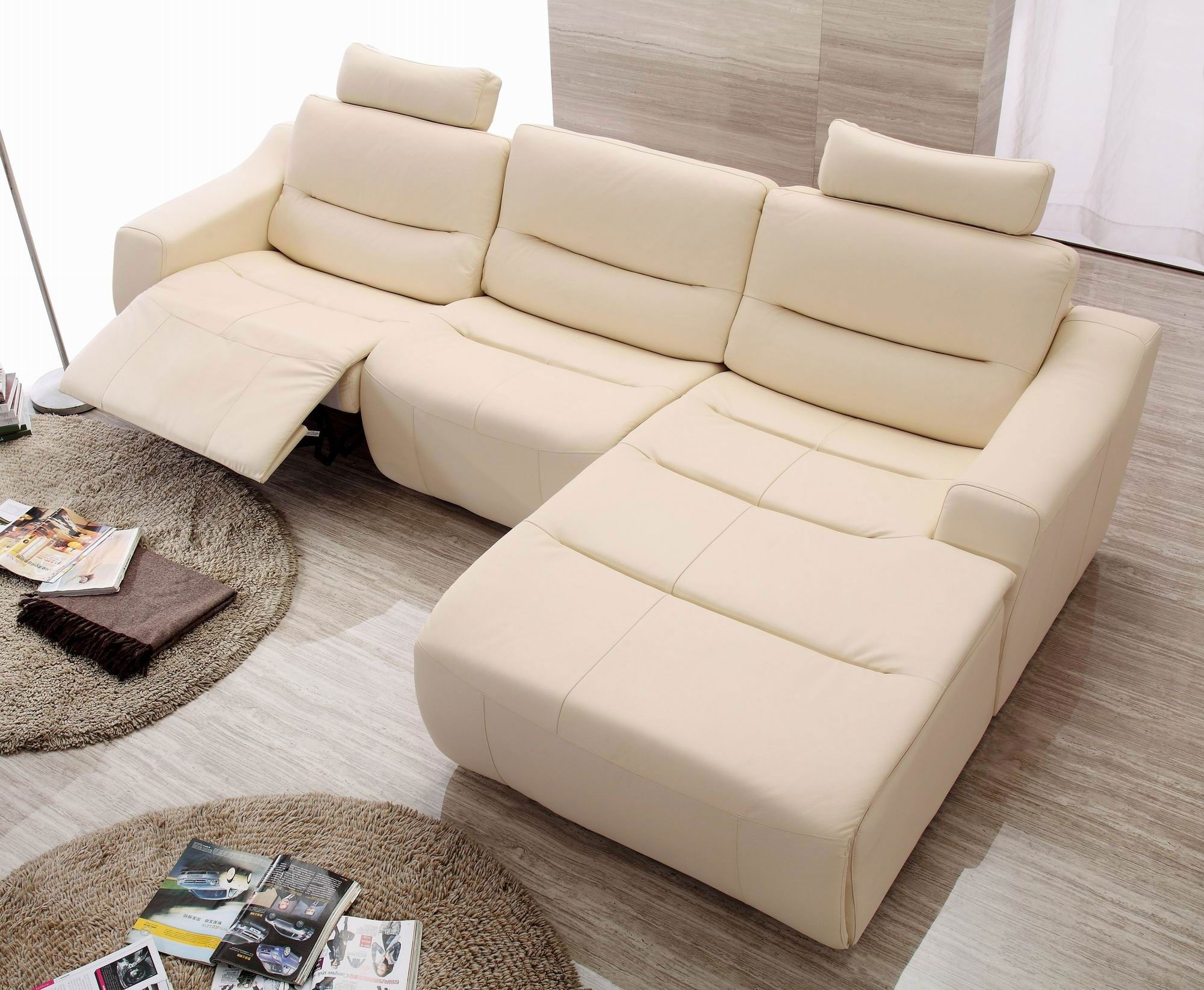 Beige Leather Reclining Sofa | Baci Living Room Throughout Clyde Saddle 3 Piece Power Reclining Sectionals With Power Headrest & Usb (Image 7 of 25)