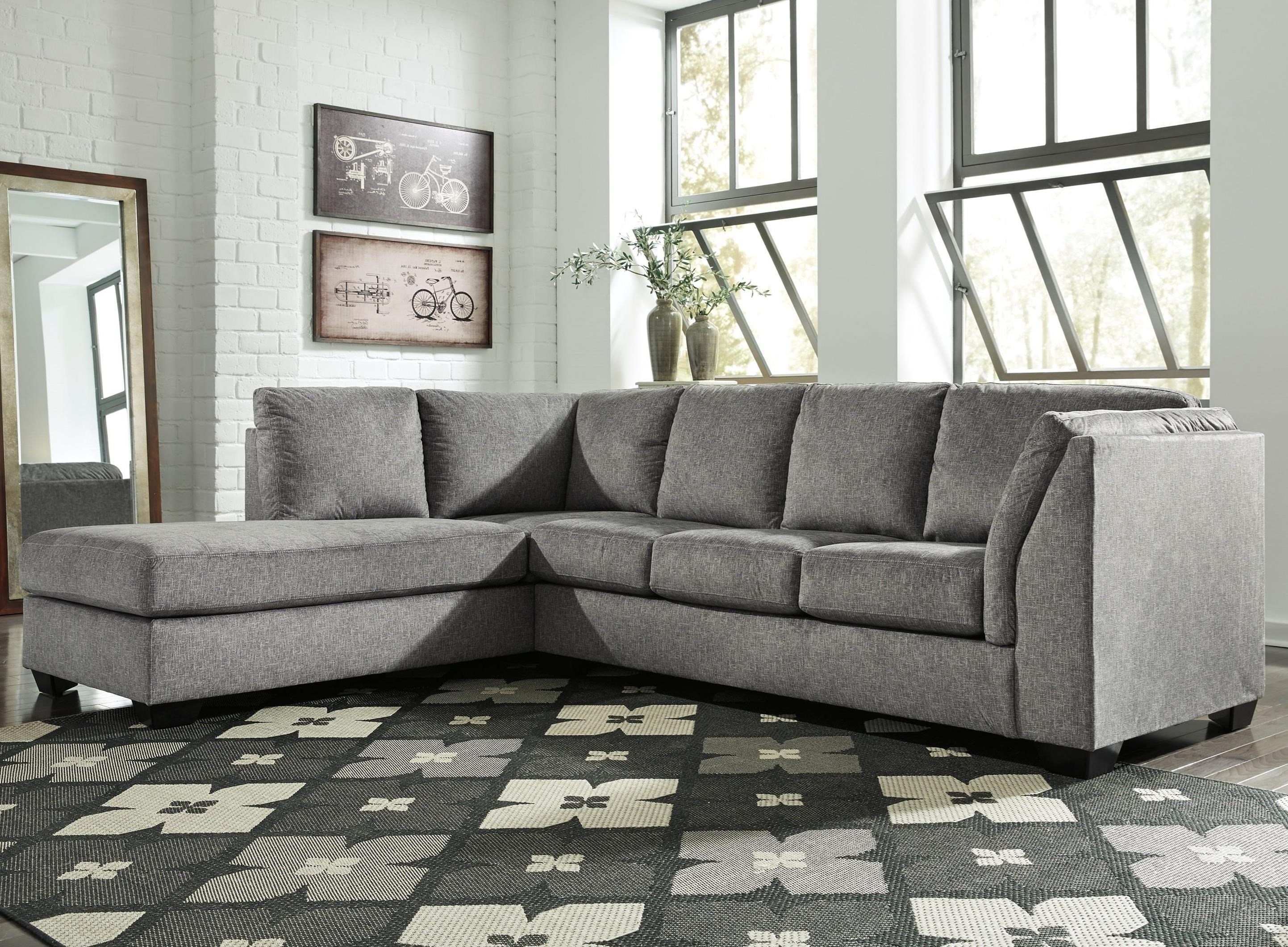 Belcastel 2 Piece Sectional With Left Chaise In Gray Fabric | Becker In Blaine 4 Piece Sectionals (Image 2 of 25)