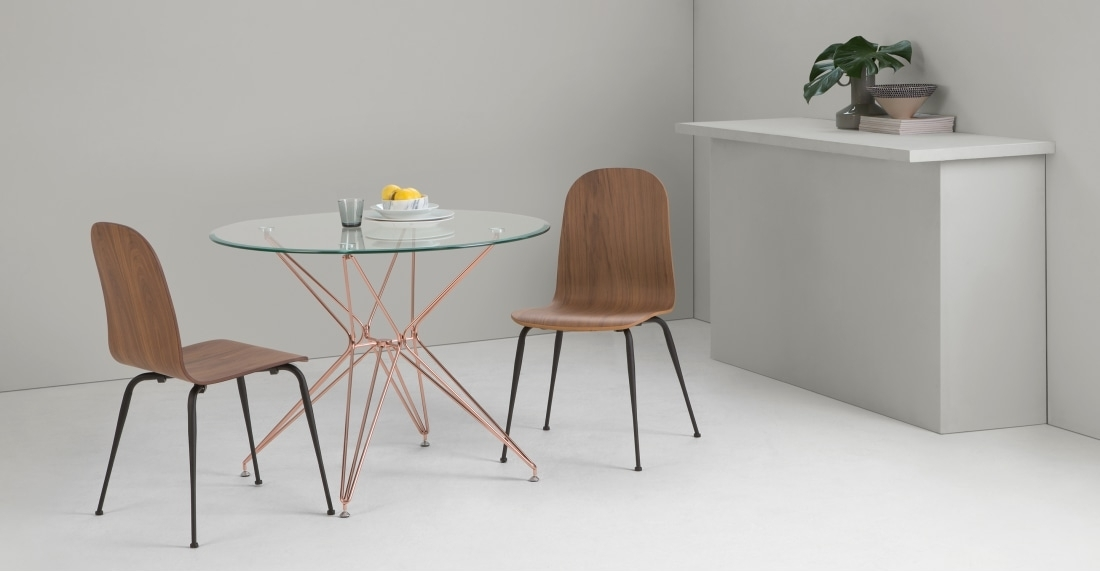 Belden Round Dining Table, Glass And Copper | Made Intended For Round Dining Tables (Image 4 of 25)