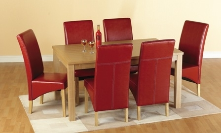 Belgrade Wooden Dining Set With 6 Dining Chairs In Red 1577 Within Red Leather Dining Chairs (View 23 of 25)