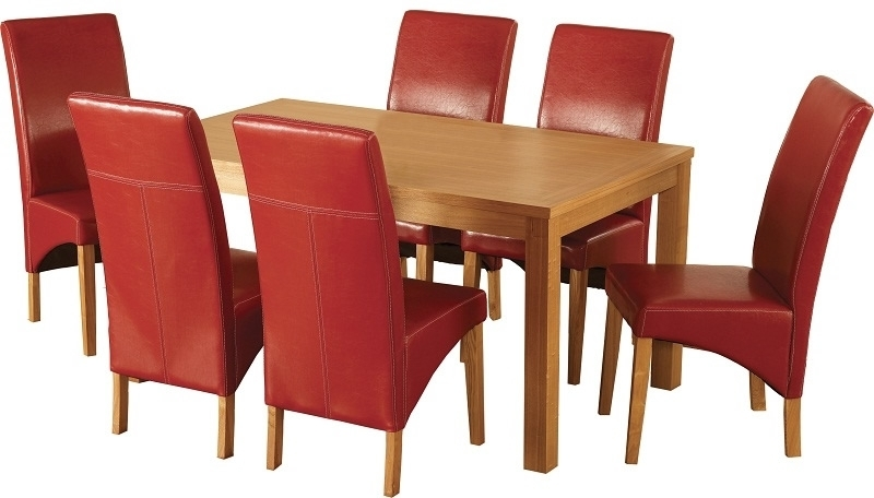 Belgravia Dining Set – Oak Dining Table With Six Red Chairs From With Regard To Red Dining Tables And Chairs (Image 3 of 25)