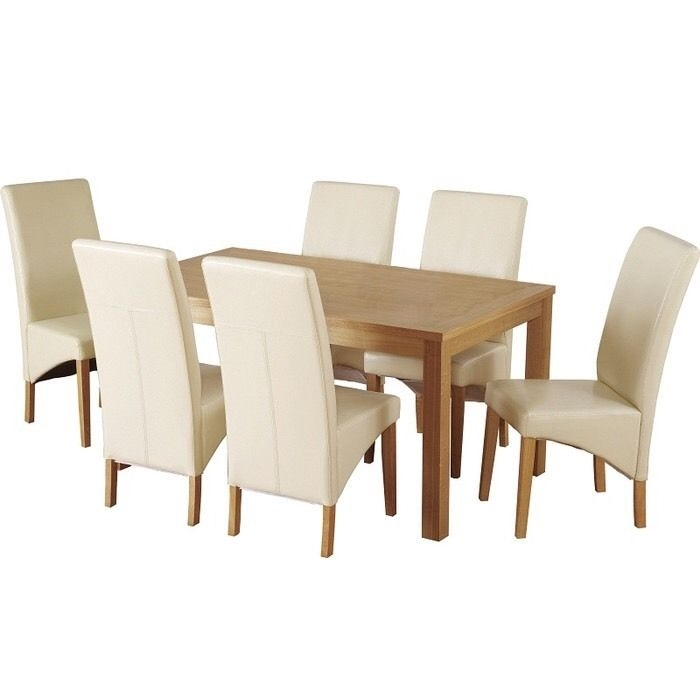 Belgravia Dining Table With 6 Cream Leather Chairs | In Erdington Intended For Cream Faux Leather Dining Chairs (Image 3 of 25)