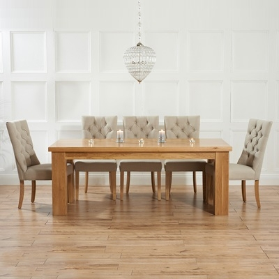 Belgravia Solid Oak 180Cm Dining Table With 6 Albany Beige Chairs For 180Cm Dining Tables (Image 4 of 25)