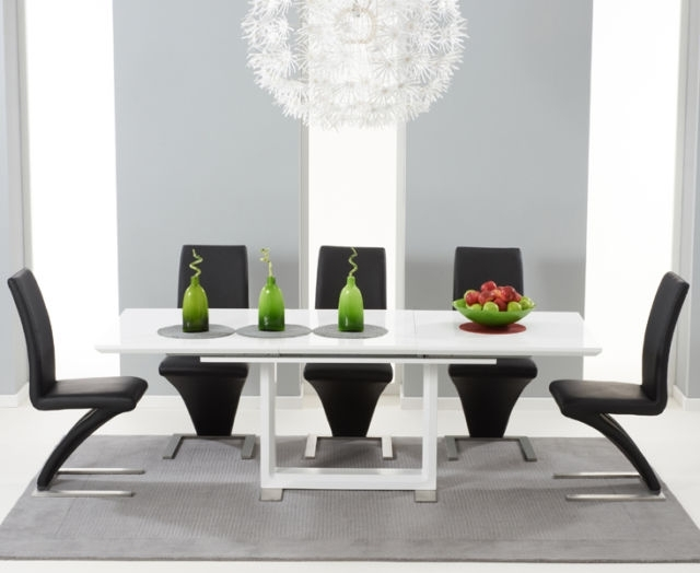Bella 160Cm Extending High Gloss White Dining Table & 8 Black Z regarding Gloss White Dining Tables and Chairs