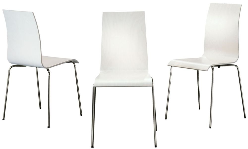 Bella Black Dining Chair With Chrome Legs (Set Of 4) Throughout Chrome Dining Chairs (Image 3 of 25)