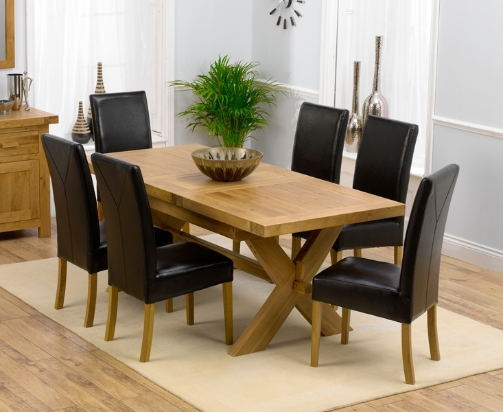 Bellano Solid Oak Extending Dining Table Size 160 Blue Fabric Dining With Oak Extending Dining Tables And 6 Chairs (Image 4 of 25)