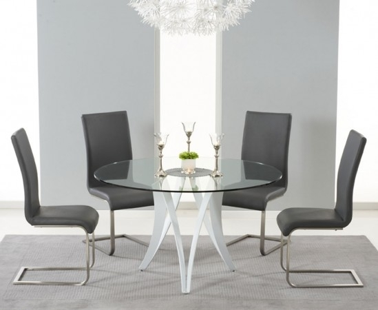 Bellevue 130Cm Round Glass Dining Table With 4 Malibu Grey Leather In Glass Dining Tables And Leather Chairs (View 3 of 25)