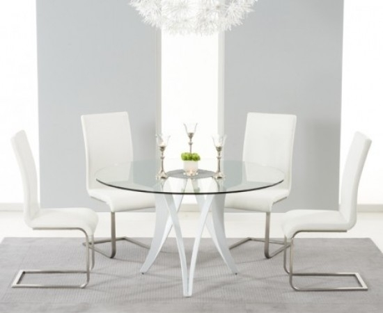 Bellevue 130Cm Round Glass Dining Table With 4 Malibu White Leather Throughout Glass Dining Tables White Chairs (View 4 of 25)