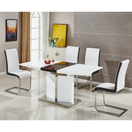Belmonte Extendable Dining Table Small With 6 White Chairs With Regard To High Gloss Extending Dining Tables (View 23 of 25)