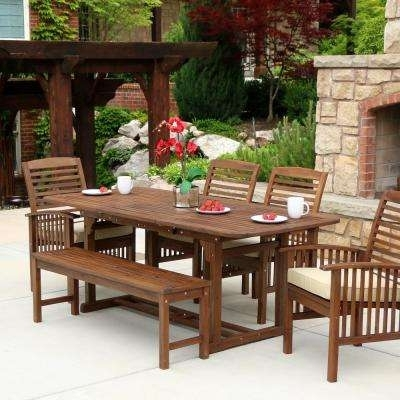 Bench – Patio Dining Sets – Patio Dining Furniture – The Home Depot With Regard To Outdoor Dining Table And Chairs Sets (View 9 of 25)