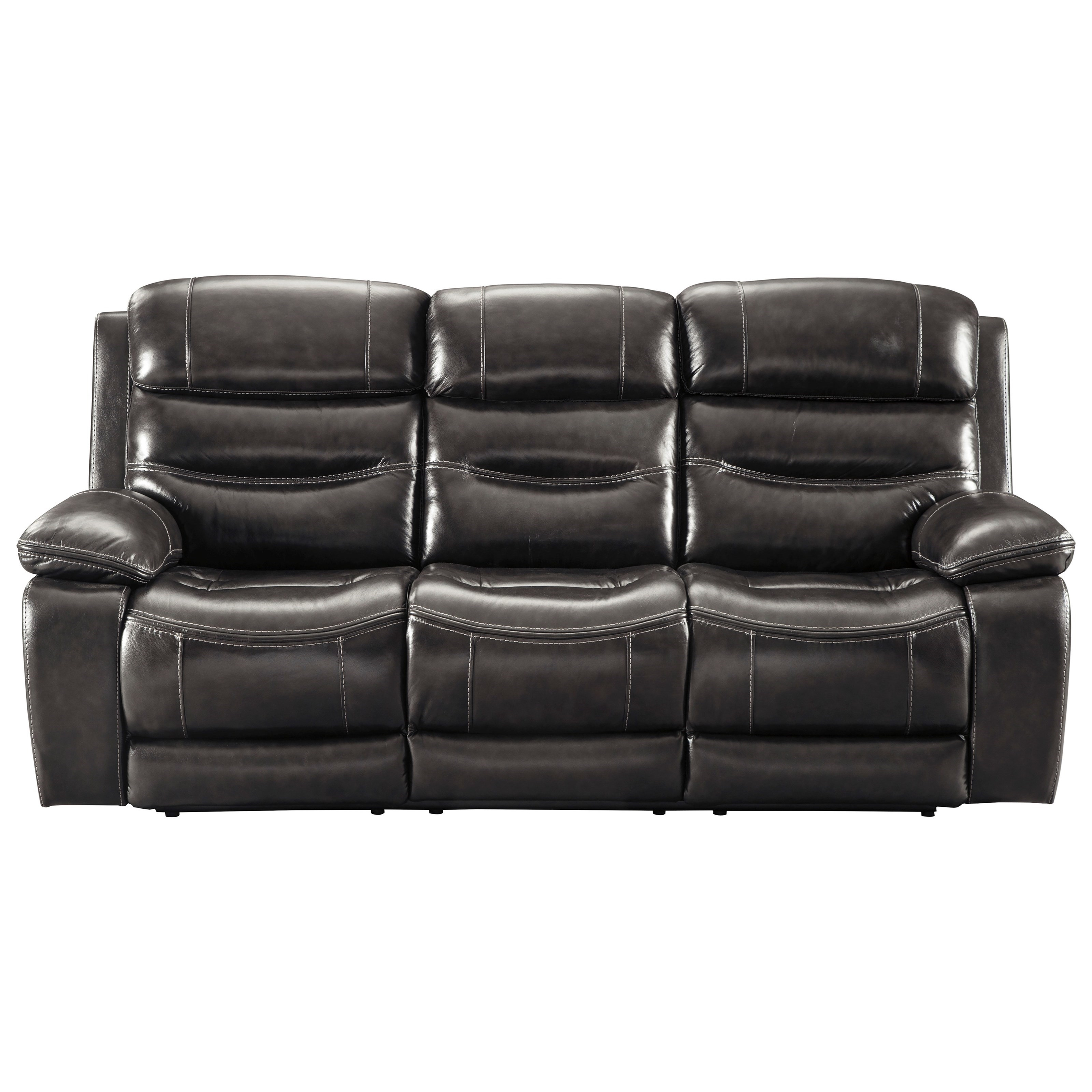 Benchcraftashley Pillement Leather Match Power Reclining Sofa W With Regard To Denali Charcoal Grey 6 Piece Reclining Sectionals With 2 Power Headrests (Image 5 of 25)