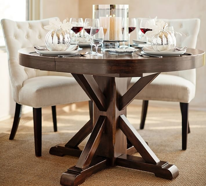 Benchwright Extending Pedestal Dining Table Alfresco Brown Within Regarding Extended Round Dining Tables (View 13 of 25)