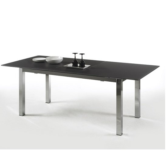 Bentini Extending Dining Table Black Glass And Chrome 25460 Within Black Extending Dining Tables (Image 3 of 25)