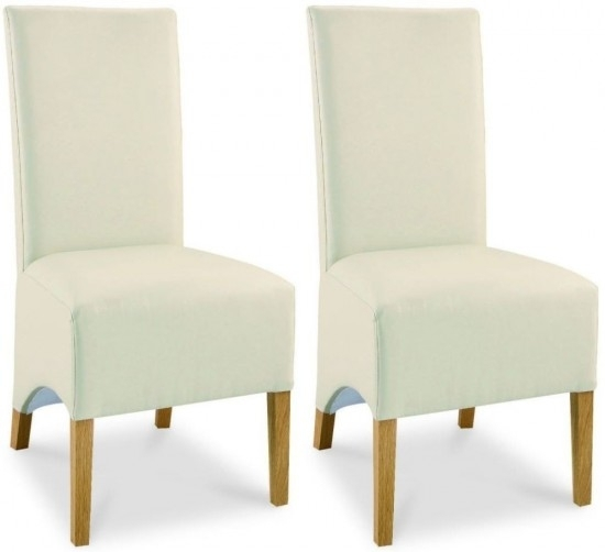 Bentley Design Lyon Oak Cream Leather Dining Chair Pair | Morale Inside Cream Leather Dining Chairs (View 21 of 25)
