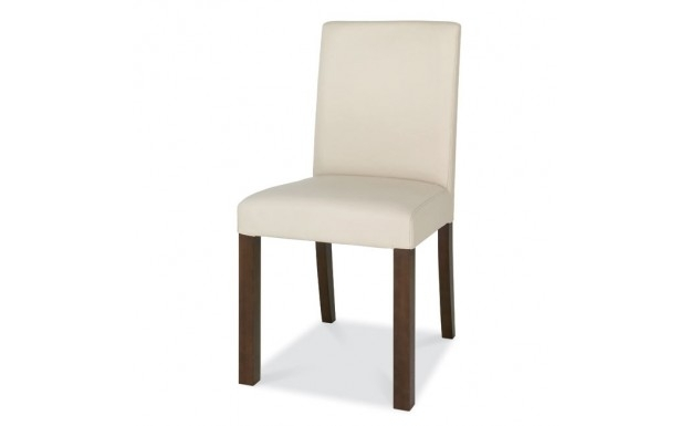 Bentley Designs Akita Walnut Square Back Ivory Leather Dining Chair Within Ivory Leather Dining Chairs (Image 4 of 25)