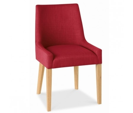 Bentley Designs Ella Oak Scoop Back Red Fabric Dining Chair With Red Leather Dining Chairs (Image 4 of 25)