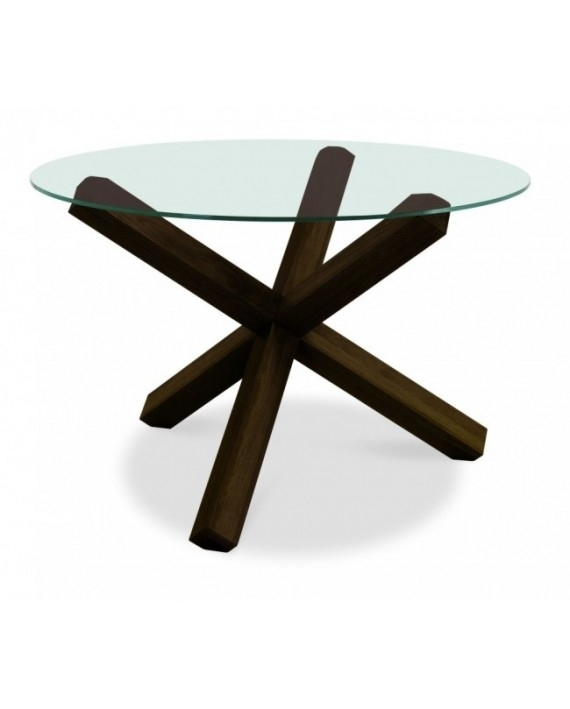 Bentley Designs – Lyon Walnut 4 Seater Glass Top Round Dining Table In Lyon Dining Tables (Image 3 of 25)