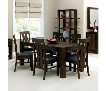 Bentley Designs Lyon Walnut Dining Set With Slatted Chairs Regarding Lyon Dining Tables (Image 4 of 25)