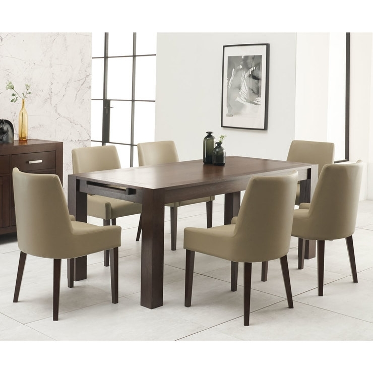 Bentley Designs Lyon Walnut Extending Dining Table + 6 Oiive Grey With Combs 48 Inch Extension Dining Tables (Image 14 of 25)