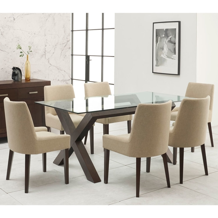 Bentley Designs Lyon Walnut Glass Top Dining Table + 6 Natural With Regard To Dining Tables And Fabric Chairs (Image 3 of 25)