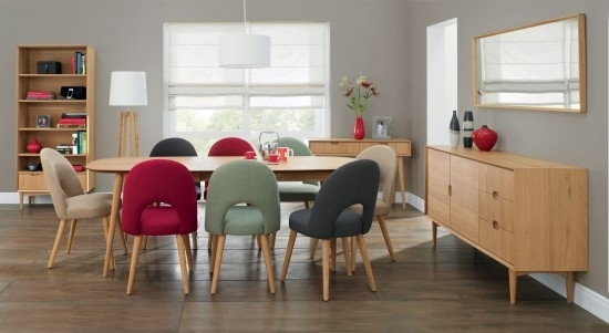 Bentley Designs Oslo Oak 6 Seater Dining Table & 6 Stone Fabric With Oak Dining Tables And Fabric Chairs (Image 3 of 25)