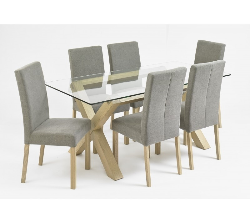 Bentley Designs Turin Aged Glass Top Dining Table | Style Our Home For Oak And Glass Dining Tables (View 5 of 25)