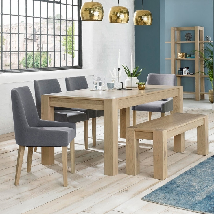 Bentley Designs Turin Aged Oak Extending Dining Table With Bench + 4 Regarding Oak Extending Dining Tables And 4 Chairs (View 15 of 25)