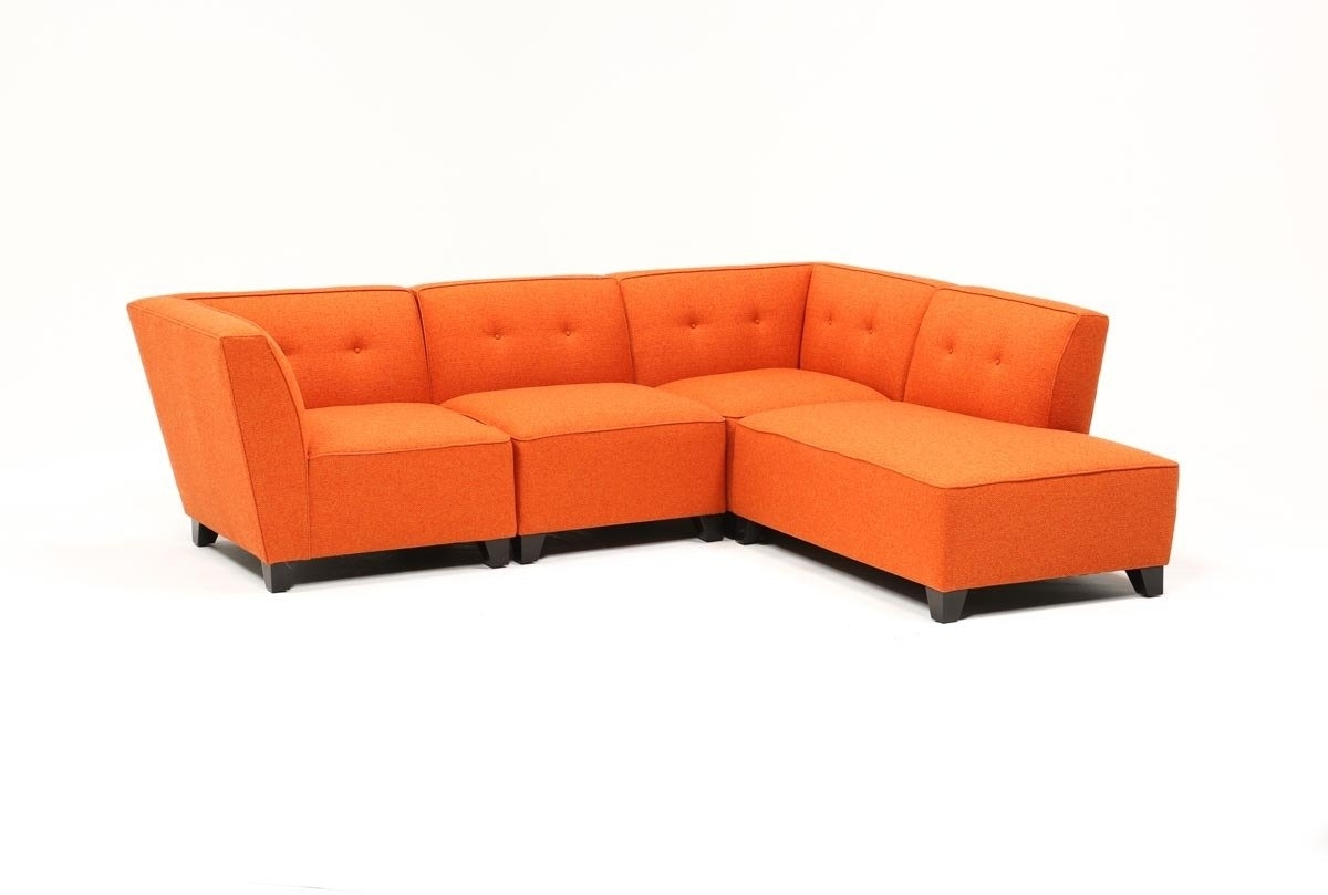 Benton 4 Piece Sectional | Living Spaces For Aidan 4 Piece Sectionals (Image 11 of 25)