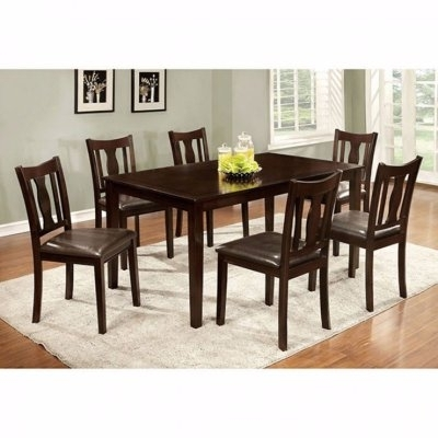 Benzara 7 Piece Rectangular Faux Leather Dining Table Set In 2018 Within Market 7 Piece Counter Sets (Image 7 of 25)