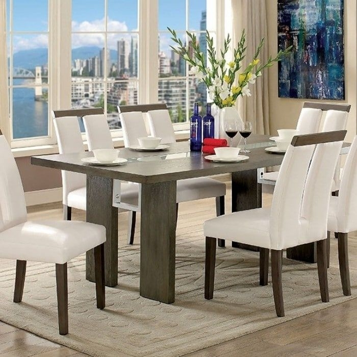 Benzara Luminar I Contemporary Style Gray Wood Dining Table With Led Pertaining To Dining Tables With Led Lights (Image 3 of 25)