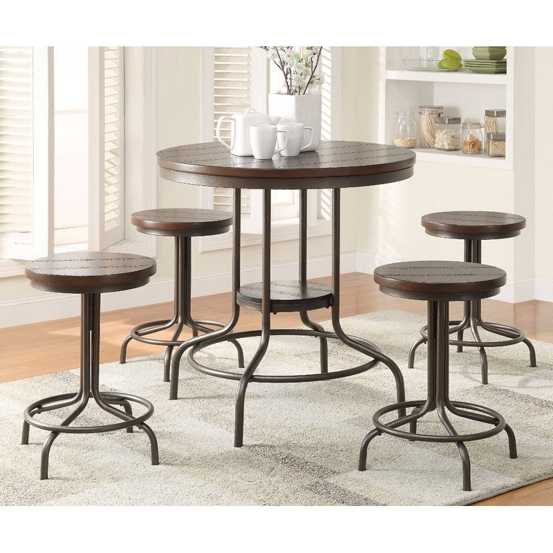Benzara Metal 5 Piece Round Counter Height Dining Table Set In 2018 In Market 5 Piece Counter Sets (Image 6 of 25)