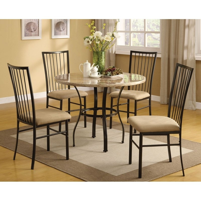 Benzara Metal & Marble 5 Piece Round Dining Table Set In 2018 With Valencia 5 Piece Round Dining Sets With Uph Seat Side Chairs (View 2 of 25)