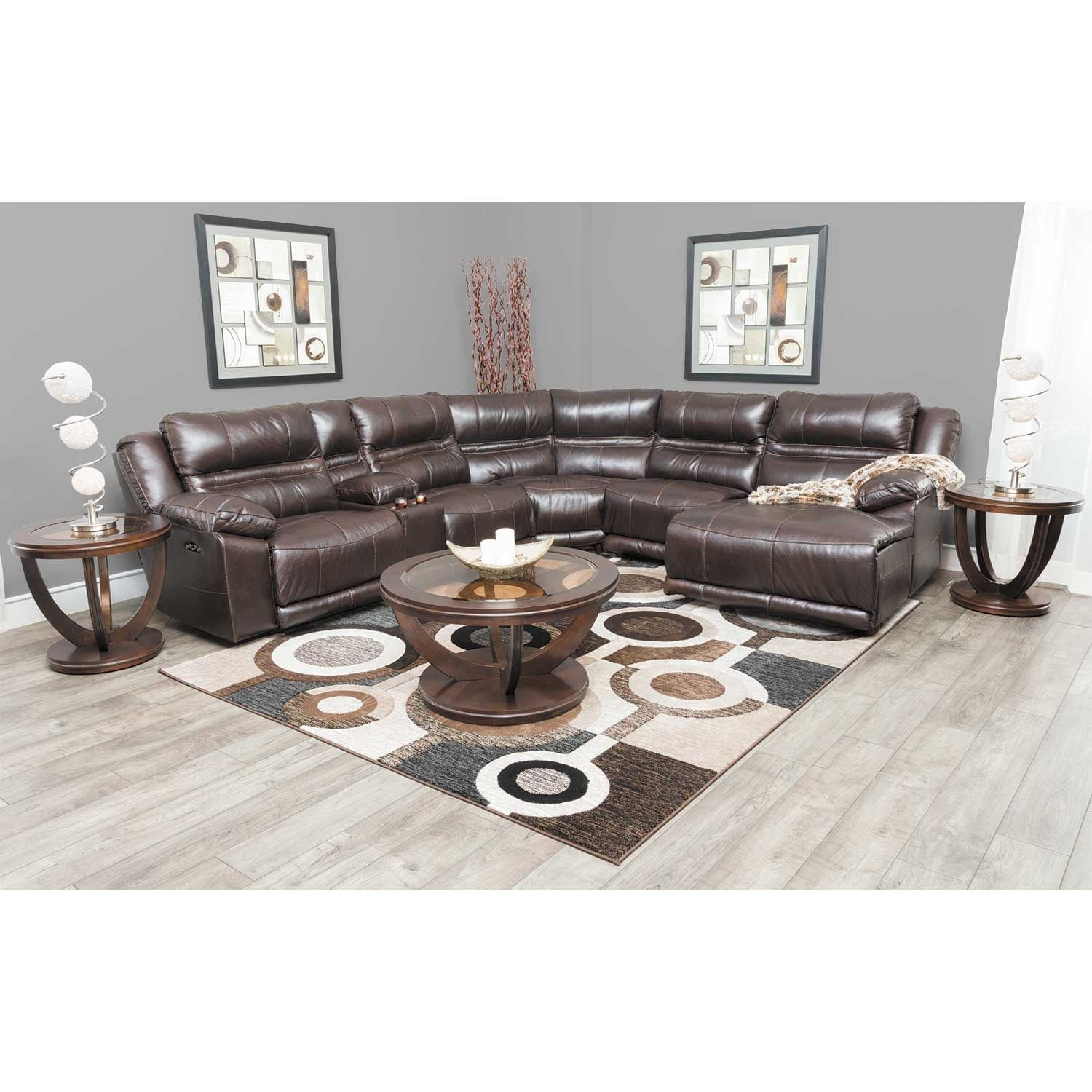 Bergamo 6 Piece Power Reclining Sectional With Adjustable Headrest For Jackson 6 Piece Power Reclining Sectionals With  Sleeper (Image 4 of 25)
