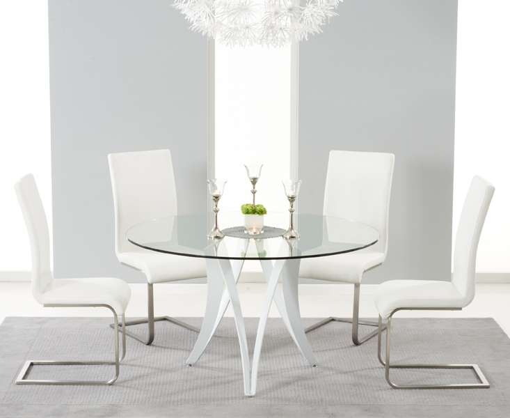 Berlin 130Cm Glass And White High Gloss Round Dining Table With Pertaining To White High Gloss Dining Tables And 4 Chairs (Image 3 of 25)
