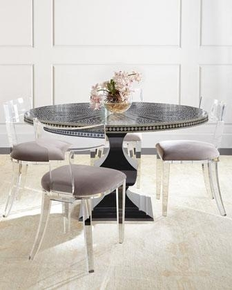 Bernhardt Vivian Black Inlay Dining Table And Nessy Clear Acrylic Inside Round Acrylic Dining Tables (View 10 of 25)